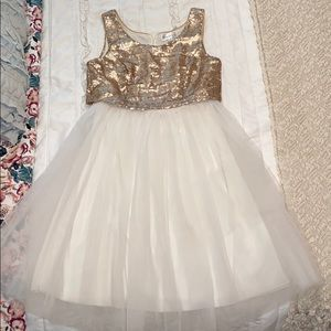 Like new gold and white tulle midi dress women's 3
